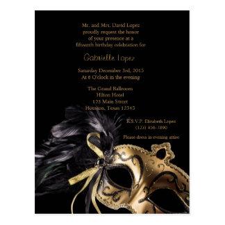 Cartão Postal Aniversário de Quinceanera da bola de mascarada do