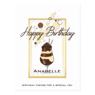 Cartão Postal Aniversário elegante da bebida da baunilha do