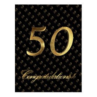 Cartão Postal Aniversário preto do ouro do número 50 casamento