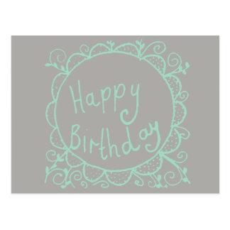 Cartão Postal Aniversário rústico