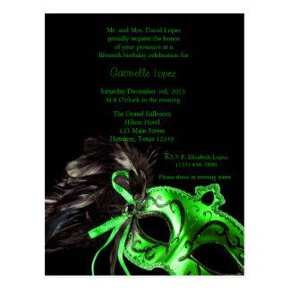 Cartão Postal Aniversário verde de Quinceanera da bola de