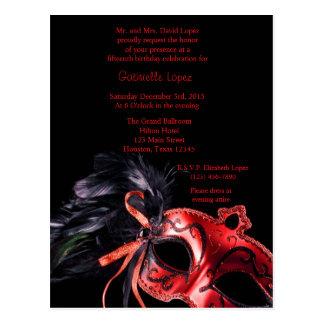 Cartão Postal Aniversário vermelho de Quinceanera 15 da bola de