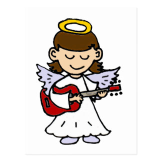 Cartão Postal Anjo adorável da menina com guitarra
