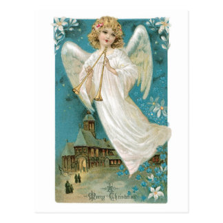 Cartão Postal Anjo antiquado do Natal