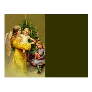 Cartão Postal Anjo com crianças e árvore