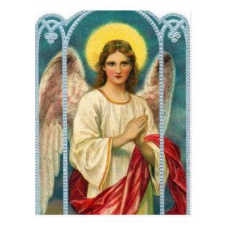 Cartão Postal Anjo com o Triptych cor-de-rosa da fita
