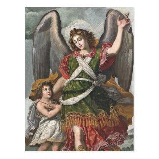Cartão Postal Anjo-da-guarda espanhol e criança