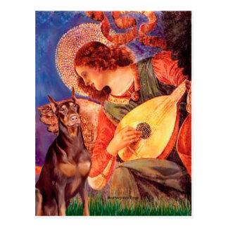 Cartão Postal Anjo do bandolim do Doberman (vermelho) -