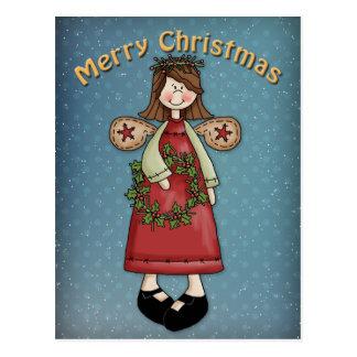 Cartão Postal Anjo do Natal com grinalda