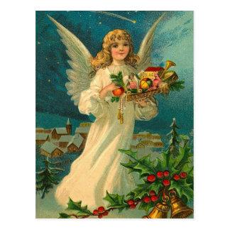 Cartão Postal Anjo do natal vintage com brinquedos