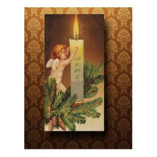 Cartão Postal Anjo do Victorian e Natal da luz de vela