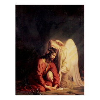 Cartão Postal Anjo do vintage que consola Jesus