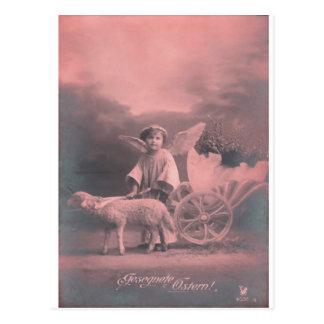 Cartão Postal Anjo e Lamb* do *Easter do vintage