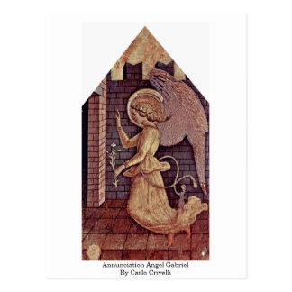 Cartão Postal Anjo Gabriel do aviso por Carlo Crivelli