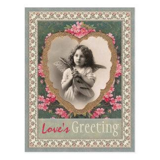 Cartão Postal Anjo musical em uns namorados do coração CC0787 do