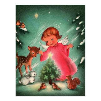 Cartão Postal Anjo na floresta com animais