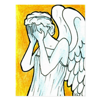 Cartão Postal Anjo Weeping