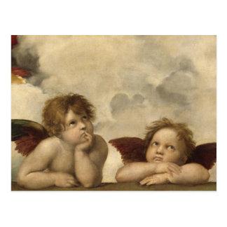 Cartão Postal Anjos de Sistine Madonna por Raphael