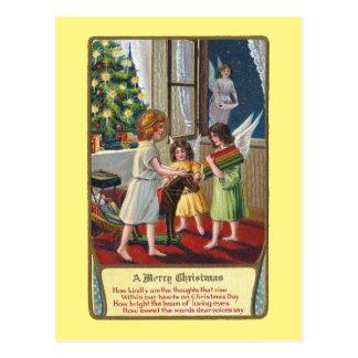 Cartão Postal Anjos e natal vintage dos brinquedos