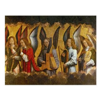 Cartão Postal Anjos que jogam instrumentos musicais