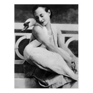 Cartão Postal Anna Pavlova com sua cisne Jack do animal de