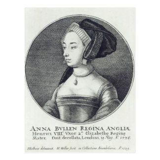 Cartão Postal Anne Boleyn, gravada por Wenceslaus Hollar, 1649
