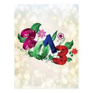 Cartão Postal Ano 2013 3D com inserções florais