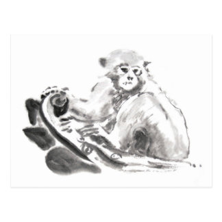 Cartão Postal Ano chinês 2016 do macaco da pintura original