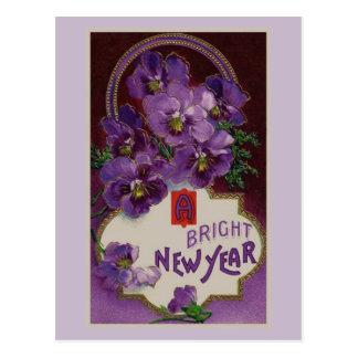 Cartão Postal Ano novo com flores roxas