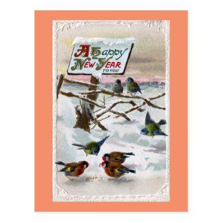 Cartão Postal Ano novo do vintage dos melharucos azuis e dos