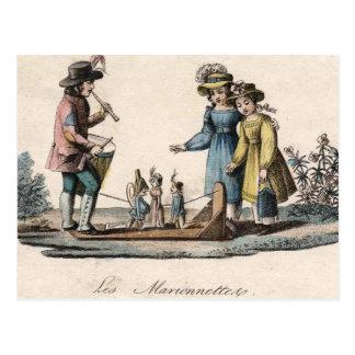 Cartão Postal Antiguidade dos fantoches das crianças do vintage
