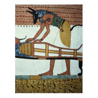 Cartão Postal Anubis e uma mamã, do túmulo de Sennedjem