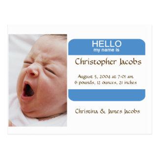 Cartão Postal Anúncio astucioso do nascimento do Nametag para