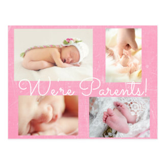 """Cartão Postal Anúncio bonito do nascimento dos pais do rosa """"nós"""