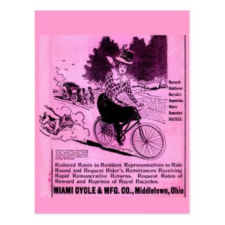 Cartão Postal anúncio da bicicleta dos 1890s o Racycle