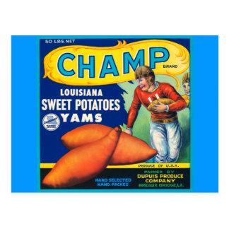 Cartão Postal Anúncio das batatas doces da marca do campeão do