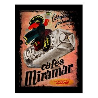 Cartão Postal Anúncio do café do vintage para Miramar