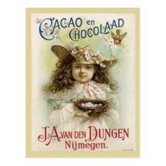 Cartão Postal Anúncio do chocolate com o ninho da menina e do