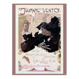 Cartão Postal Anúncio do jornal do leilão do nouveau da arte do