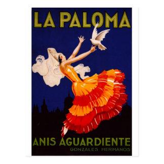Cartão Postal Anúncio do licor do vintage de Paloma do La