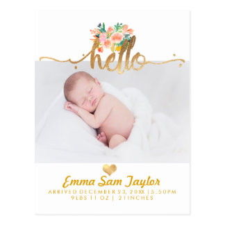 Cartão Postal Anúncio do nascimento de PixDezines/aguarela