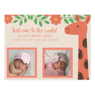 Cartão Postal Anúncio do nascimento do bebê da foto do girafa do