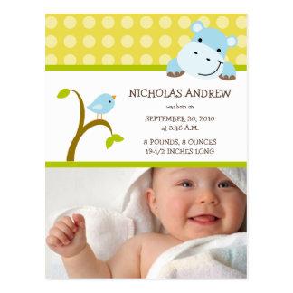 Cartão Postal Anúncio do nascimento do hipopótamo e do bebé do
