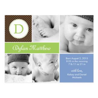 Cartão Postal Anúncio inicial moderno do nascimento - azul