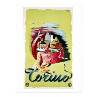 Cartão Postal Anúncio italiano retro do viagem de Turin Torino