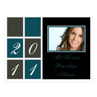 Cartão Postal Anúncio moderno da graduação dos blocos (cerceta)