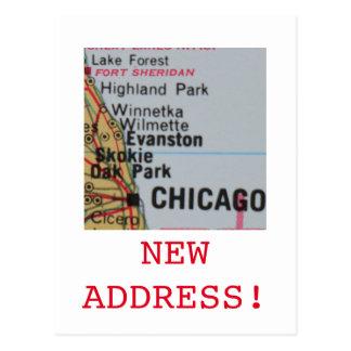 Cartão Postal Anúncio novo do endereço de Chicago