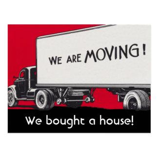 Cartão Postal Anúncio novo do endereço no caminhão movente retro