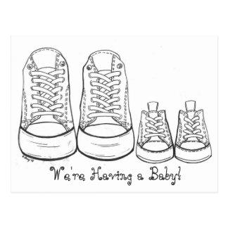 Cartão Postal Anúncio novo do nascimento do bebê das sapatilhas