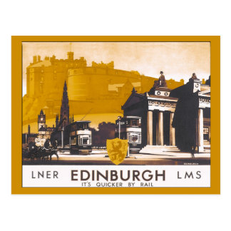Cartão Postal Anúncio railway do viagem de Edimburgo LNER/LMS do